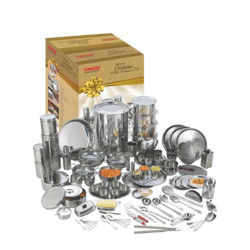 Vinod Stainless Steel Deluxe 116 Pcs. Griha Pravesh Set