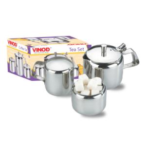 Vinod Stainless Steel 3 Pieces Plain Tea & Coffee Set