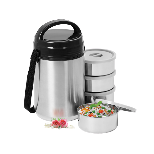 Vinod Stainless Steel Hot Tiffin Leak Proof, 4 Compartment