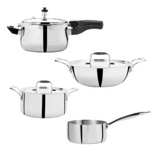 Vinod - Doniv Titanium Triply Stainless Steel 4 pc Jumbo Cookware Set