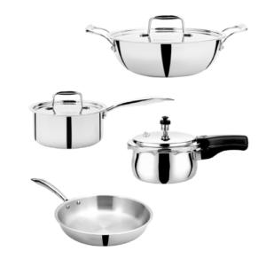 VINOD Doniv Titanium Triply Stainless Steel 4 pc Large Cookware Set – Pressure Cooker, Kadai, Sauce Pan, Frypan