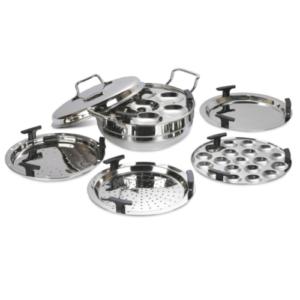 DONIV Cookware Stainless Steel Induction Bottom Multi Kadhai with 6 Plates (2 Idli, 1 Mini Idli, 2 Patra, 1 Khaman / Dhokla)