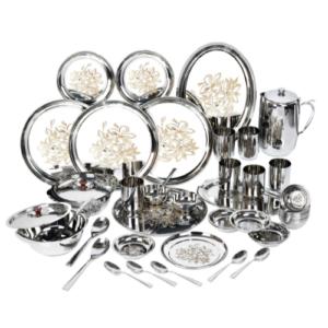 Vinod Stainless Steel 50 pieces Laser Dinner Set