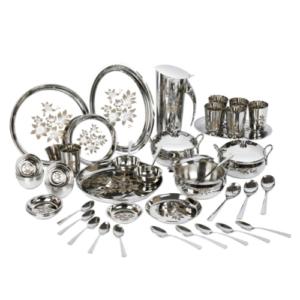 Vinod Stainless Steel 58 pieces Laser Dinner Set